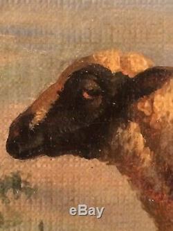 Ancien Tableau XIXe La Bergère aux Moutons Dans le Gout Balthazar Paul OMMEGANCK