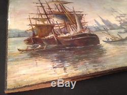 Ancien Tableau XIXe Marine Bateaux à Rouen Huile sur panneau Signée C1865