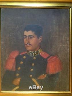 Ancien Tableau XIXe Portrait Jeune Militaire Huile sur toile 19e