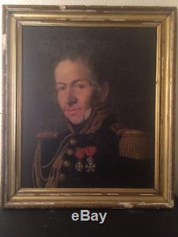 Ancien Tableau XIXe Portrait Officier à la Légion d'Honneur Colonel d'Artillerie