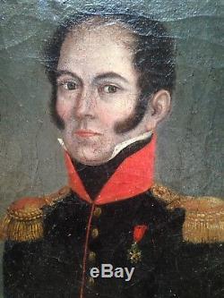 Ancien Tableau XIXe Portrait Officier d'Empire Légion d'Honneur c1820