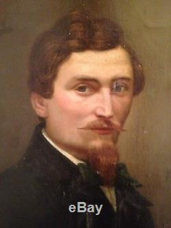 Ancien Tableau XIXe Portrait d'Homme Huile sur Toile 19è A restaurer