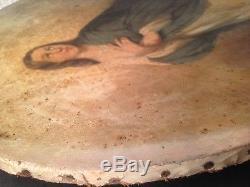 Ancien Tableau XIXe Portrait de la Vierge croissant de Lune Huile sur Toile 19th