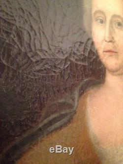 Ancien Tableau XVIIIe Portrait de Femme en buste Huile sur Toile 18th