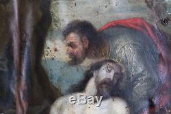 Ancien Tableau XVII eme Huile sur cuivre Jesus Christ Vierge Mythologie Religeux