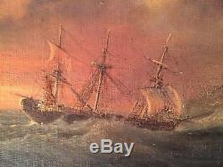 Ancien Tableau début XIXe Marine Bateaux Bord de mer Huile sur toile 19thc