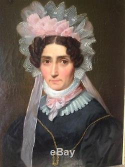 Ancien Tableau époque Restauration Portrait Femme Coiffe de Dentelle Huile toile