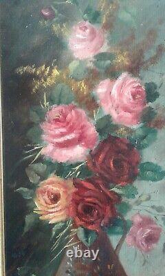 Ancien. Tableau huile. Nature morte au bouquet de Roses. 1900