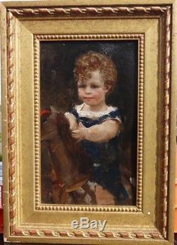 Ancien Tableau huile Portrait Enfant Cheval de Bois Impressionnisme XIX eme