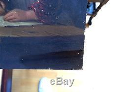 Ancien Tableau / huile sur Bois, Joli Portrait d'enfant signée voir photos