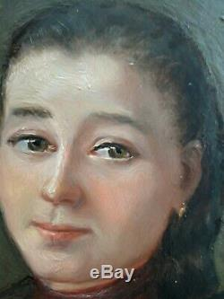 Ancien Tableau huile sur panneau Ecole Française XIXe Portrait d'une jeune fille