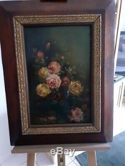 Ancien Tableau huile sur panneau Nature Morte Bouquet de Fleurs signé/ CARLI