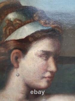 Ancien. Tableau huile sur toile. Scène Mythologique. Néo Classique. Fin 18 ème