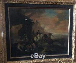 Ancien Tableau huile sur toile scène de bataille
