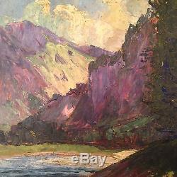 Ancien Tableau impressionniste NIVARD (1880-1969) Paysage de Montagne Huile
