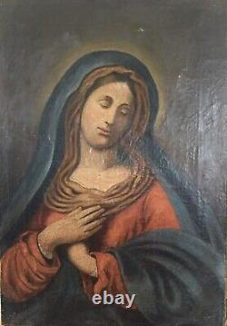 Ancien Tableau peinture Huile Sur toile Hst Madone Signé Monogramme baroque 17th