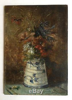 Ancien Tableau, peinture. Nature morte, Bouquet de fleurs