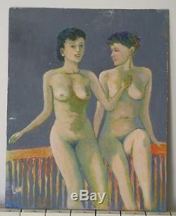 Ancien Tableau peinture à l'huile Femmes nues signé Léo sur panneau