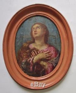 Ancien Tableau peinture ovale huile XVIIIe 18e portrait Femme, Religion