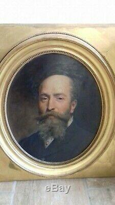 Ancien. Tableau portrait homme notable. Fin 19ème. Signé E. Ponsan