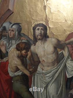 Ancien Tableau religieux sur toile a restaurer fin 18 eme debut 19 eme Superbe