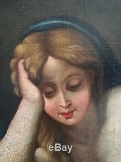 Ancien beau tableau, HST, femme à la lecture, école Française époque XVIIIe siècle