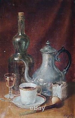 Ancien beau tableau Nature morte café pipe et tabac signé M. Merlin XIXème