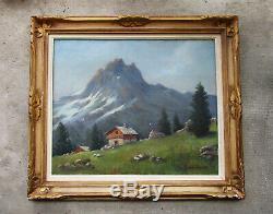 Ancien beau tableau de montagne signé cadre style Montparnasse La Meije Chamonix