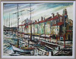 Ancien beau tableau le port St Saint Tropez marine bateau signé à identifier