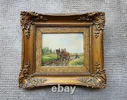 Ancien beau tableau miniature signé Karl Rohrhirsch cheval chevaux de labour