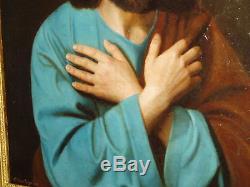 Ancien et grand tableau. HST. Portrait d'un saint. XIX. Signé