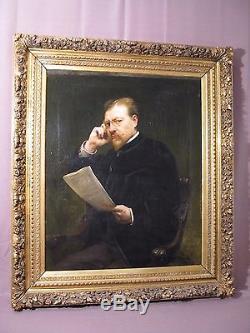 Ancien et grand tableau portrait d'homme huile sur toile XIX ème