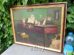 Ancien étonnant grand tableau huile sur toile, chatons autour et sur un piano