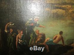 Ancien grand tableau huile 18 eme italien scene romantique paysage ruines