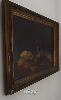 Ancien immense tableau nature morte signé Raphaelencadré huile sur toile hst XI