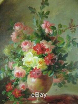 Ancien petit tableau huile /p bouquet de fleur XIXe superbe cadre doré signé poy