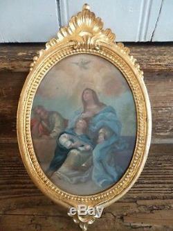 Ancien petit tableau huile sur cuivre thème religieux