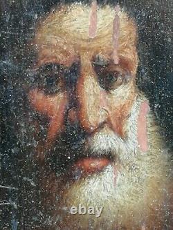 Ancien petit tableau portrait turban orientaliste huile bois oil wood