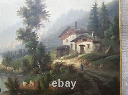 Ancien superbe tableau XIXe, paysage Ecole de Barbizon pêcheur montagne rivière
