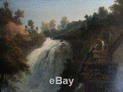 Ancien superbe tableau huile XIXe, Ecole de Barbizon, cascade, montagne, signé