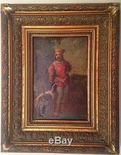 Ancien tableau Ecole Française XIXe Portrait PAGE au Lévrier Huile