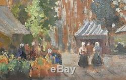 Ancien tableau HSC marché aux fleurs signé B. Belavary école hongroise XIXe/XXe