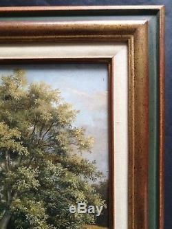 Ancien tableau, HSP, Paysage, école Anglaise, d'après Franck Walton, fin XIXe deb XXe