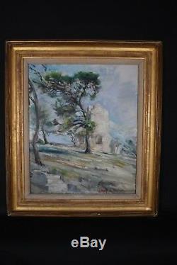 Ancien tableau HSP Paysage ruine Provence signé Impressionnisme déb XXe