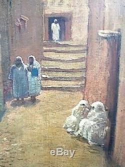 Ancien tableau HSP Scène de rue animé Orientaliste Médina Maroc 1900