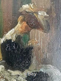 Ancien tableau HSP dame dans le pré Belle-époque Giuseppe de Nittis 1846-1884