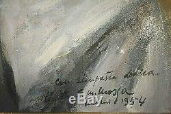 Ancien tableau HSP portrait de dame signé Giovanni Maria Mossa XXème