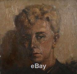 Ancien tableau HSP portrait de femme signé XXème