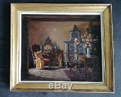 Ancien tableau HSP scène de genre intérieur Alsace Château d'Andlau 1900