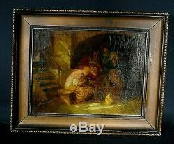 Ancien tableau HSP scène de genre personnages signé Carl DUXA (1871-1937)